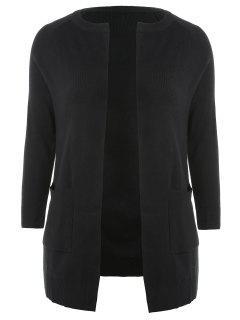 Plus Size Two Tone Open Cardigan - Black 2x