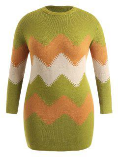 Plus Size Zig Zag Langer Pullover - Multi 4x