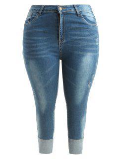 Panels Frayed Plus Size Skinny Jeans - Denim Blue 2x