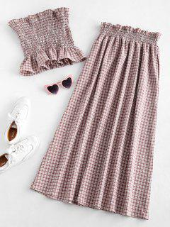 ZAFUL Gingham Smocked Tube Top And Skirt Set - Lipstick Pink L