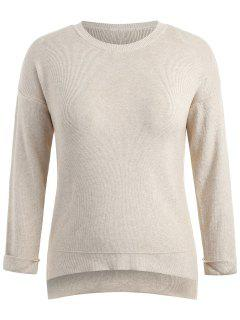Step Hem Plus Size Sweater - Blanched Almond 2x