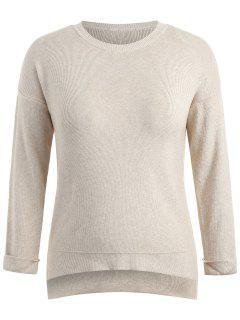 Step Hem Plus Size Pullover - Blanchierte Mandel 3x