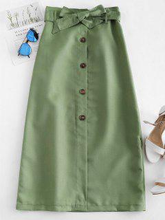 Jupe Boutonnée Ceinturée à Taille Haute - Vert Pois M