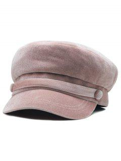 Solid Color Button Army Hat - Lipstick Pink