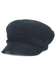 Solid Color Button Army Hat - Black