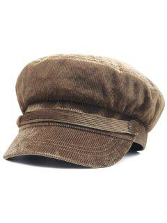 Solid Color Button Army Hat - Coffee
