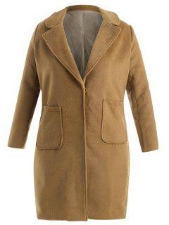 Plus Size Wool Blend Pocket Trench Coat - Light Brown 3x