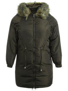 Manteau à Capuche Zippé Matelassé De Grande Taille - Vert Armée  5x