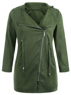 Plus Size Asymmetric Zipper Hooded Coat - Army Green 2x