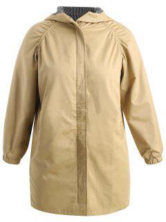 Plus Size Hooded Longline Coat - Tan 5x