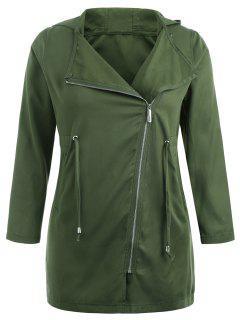 Manteau à Capuche Zippé Asymétrique De Grande Taille - Vert Armée  3x