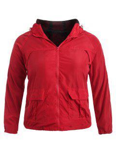 Plus Size Side Stripe Track Jacket - Red 3x