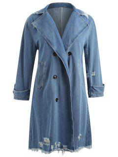 Denim Ripped Plus Size Frayed Midi Coat - Denim Blue 4x