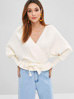 Belted V Neck Ruffles Sweater - Warm White