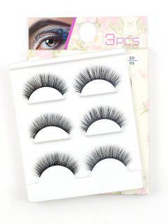 Beauty 3 Pairs Handmade Volumizing False Eyelashes Set - Black