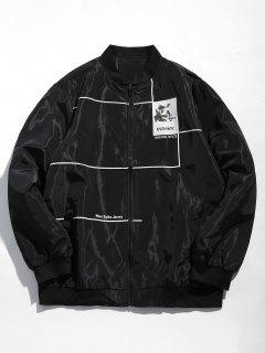 Graphic Casual Bomber Jacket - Black L
