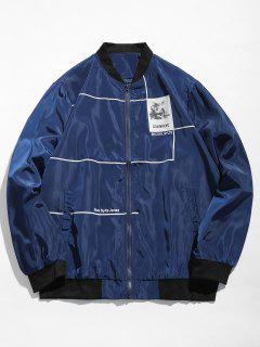 Graphic Casual Bomber Jacket - Cadetblue L