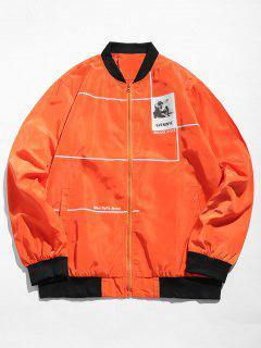 Graphic Casual Bomber Jacket - Pumpkin Orange L