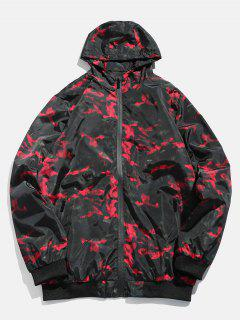 Camo Zipper Hooded Bomber Jacket - Red Wine L