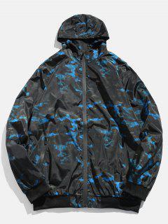Camo Zipper Hooded Bomber Jacket - Blueberry Blue Xs