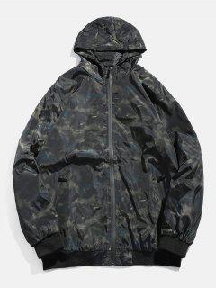 Camo Zipper Hooded Bomber Jacket - Army Green L