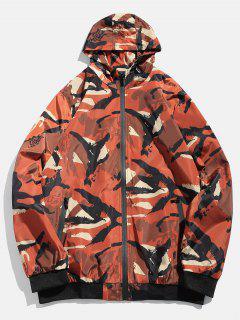 Camouflage Zip Casual Jacket - Dark Khaki L