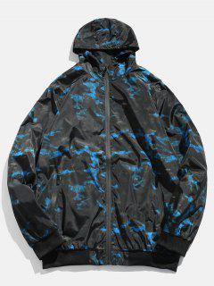 Camo Zipper Hooded Bomber Jacket - Blueberry Blue L