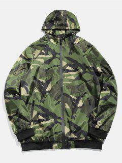 Camouflage Zip Casual Jacket - Medium Forest Green S