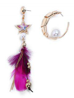 Asymmetric Metal Star Feathered Beaded Decoration Earrings - Gold