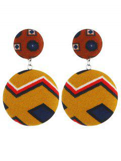 Ethnic Round Geometric Shaped Drop Earrings - Brown