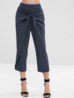 ZAFUL Striped Knotted Overlap Pants - Dark Slate Blue M