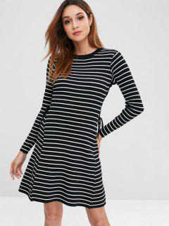 Striped Lace Up Sweater Dress - Black