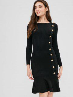 Buttoned Sweater Mermaid Dress - Black