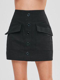 Pockets Buttoned Mini Skirt - Black Xl