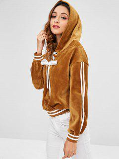 Lace Up Striped Velvet Hoodie - Caramel L