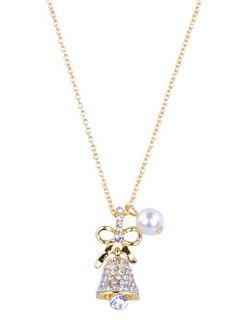 Sparkly Rhinestone Christmas Bell  Necklace - Gold
