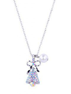 Sparkly Rhinestone Christmas Bell  Necklace - Silver