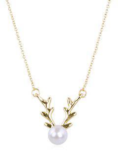 Elegant Faux Pearl Elk Pendant Necklace - Gold
