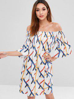 Off Shoulder Smocked Flare Sleeve Dress - Multi M