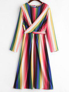 Vestido Rayado Arco Iris Drapeado - Multicolor M