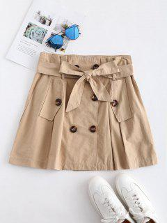Belted Double Breasted A Line Skirt - Tan M