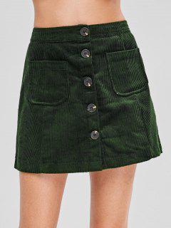Button Up Mini Corduroy Skirt - Dark Green S