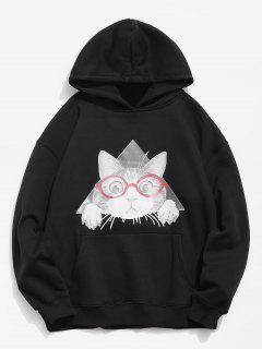 Cat Pattern Print Hoodie - Black M