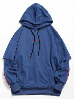 Embroidery False Two Piece Hoodie - Blue M