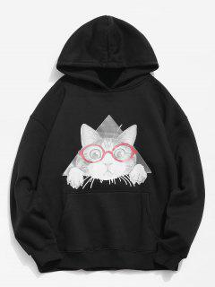 Cat Pattern Print Hoodie - Black Xl
