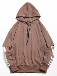 Embroidery False Two Piece Hoodie - Coffee L