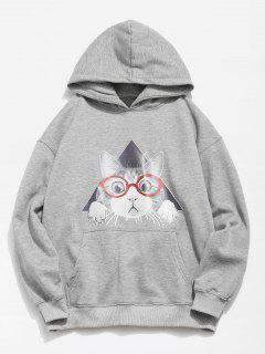 Cat Pattern Print Hoodie - Gray Cloud M