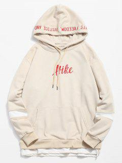 Side Split Embroidery False Two Piece Hoodie - Light Brown M