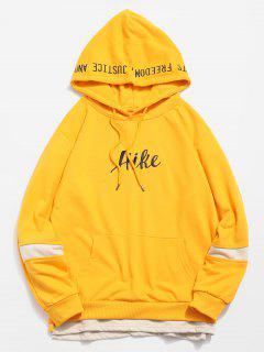 Side Split Embroidery False Two Piece Hoodie - Yellow M