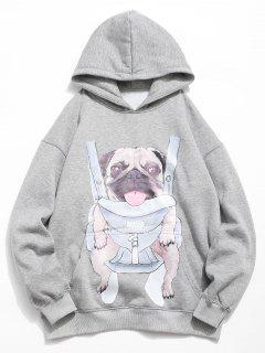 Doggy Pattern Print Hoodie - Gray Cloud M